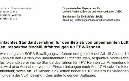 Offizielle BAZL Regelung für FPV-Events
